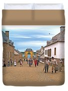 Townsfolk On Street To The Sea In Louisbourg Living History Museum-174 Duvet Cover