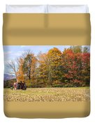 Tractor In Autumn New England Field Duvet Cover