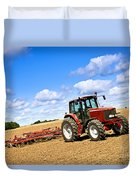 Tractor In Plowed Farm Field Duvet Cover by Elena Elisseeva