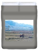 Tractor Used In Farming Along The Road To Shigatse-tibet Duvet Cover