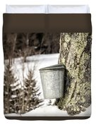 Traditional Sap Bucket On Maple Tree In Vermont Duvet Cover