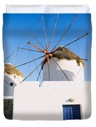 Traditional Windmill In A Village Duvet Cover