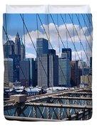 Traffic On A Bridge, Brooklyn Bridge Duvet Cover
