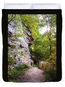 Trail Beside The Cliff Wildcat Den State Park Duvet Cover