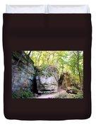 Trail Through The Rocks Wildcat Den State Park Duvet Cover