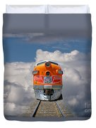 Train In Clouds Duvet Cover