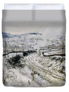 Train In The Snow At Argenteuil Duvet Cover by Claude Monet