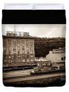 Train Passes Station Square Pittsburgh Antique Look Duvet Cover
