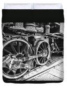 Train - Steam Engine Wheels - Black And White Duvet Cover