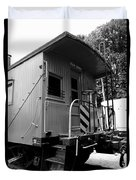 Train - The Caboose - Black And White Duvet Cover
