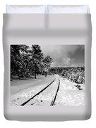 Train Tracks In The Snow Duvet Cover