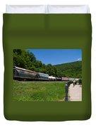 Train Watching At The Horseshoe Curve Altoona Pennsylvania Duvet Cover