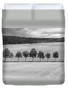 Train With A View Bw Duvet Cover