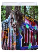 Train Wreck Art In The Forest Duvet Cover