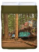 Train Wreck Canvas Among The Trees Duvet Cover