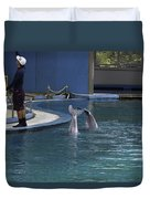 Trainer And 2 Dolphins At The Underwater World In Sentosa Duvet Cover