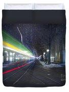 Tram At Night In Zurich Bahnhofstrasse Duvet Cover