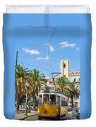 Tram In Lisbon Duvet Cover