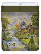 Tranquil Log Cabin Duvet Cover