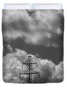 Transmission Tower In Storm Duvet Cover