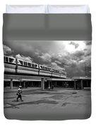 Transportation Station In Black And White Walt Disney World Duvet Cover