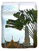 Traveler's Palm At Grand Palace Of Thailand In Bangkok Duvet Cover