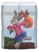 Traveling Rabbit Duvet Cover by Terry Lewey