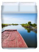 Traveling Through Tonle Sap Lake Duvet Cover