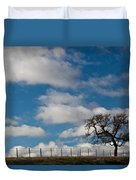 Tree And Fence On A Landscape, Santa Duvet Cover