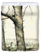 Tree And Geese Duvet Cover