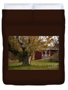 Tree And Red Barn Duvet Cover