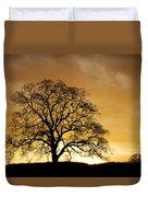 Tree At Golden Sunrise Duvet Cover