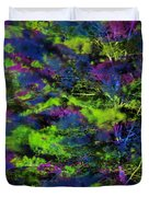 Tree Branches Lit With Abstract Colorful Projection Duvet Cover