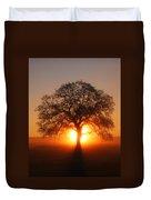 Tree Fog Sunrise Duvet Cover