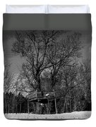 Tree House In Black And White Duvet Cover