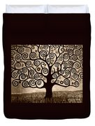 Tree Of Life In Sepia Duvet Cover