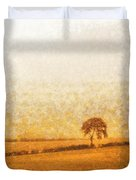 Tree On Hill At Dusk Duvet Cover by Pixel  Chimp