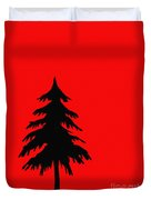 Tree Silhouette On A Red Background 2 Duvet Cover