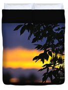 Tree Silhouette Over Sunset Duvet Cover