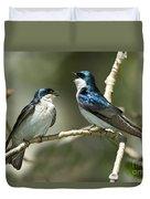 Tree Swallows Singing Duvet Cover