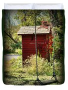 Tree Swing By The Outhouse Duvet Cover