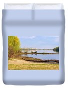 Tree Trunk By The River Duvet Cover