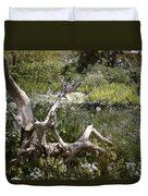 Tree Trunk In The Meadow Duvet Cover