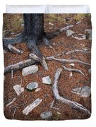 Tree Trunk Roots And Rocks Duvet Cover