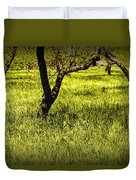 Tree Trunks In A Peach Orchard Duvet Cover