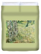 Tree Trunks In Grass Duvet Cover