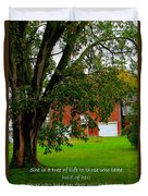 Tree With Scripture Duvet Cover