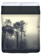 Trees And Fog At Castle Hill Duvet Cover