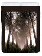 Trees And Mist Duvet Cover