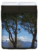 Trees And Snow-capped Mountain Duvet Cover